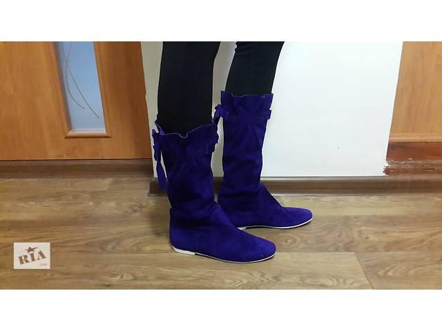 продам замшевые,фиолетовые сапоги на белой подошве бу в Чернигове