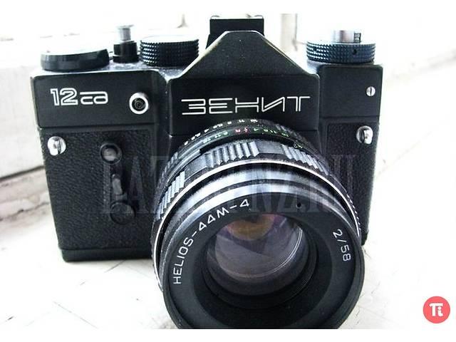 бу Зенит 12СД- фотокамера с обьективом Гелиос-44М-4+ фирменный чехол в Вишневом