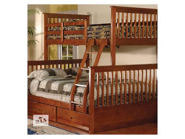 купить бу Олигарх с подкроватными коробами: двухъярусная трехместная кровать, от фабрики мебели из дерева в Василькове