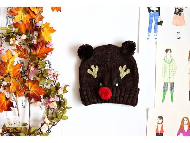 бу Женская шапка коричневая с заворотом, олень в Полтаве