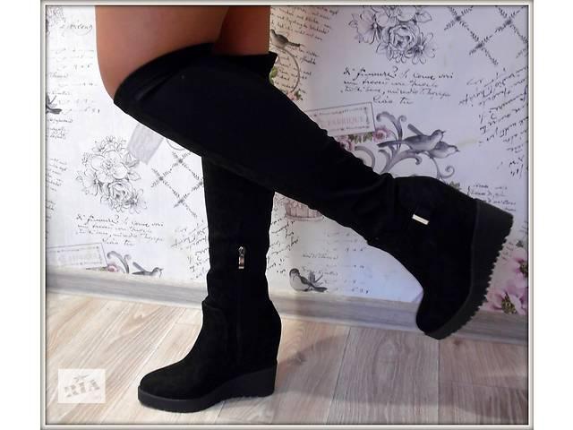 купить бу Женские сапоги черный, платформа, демисезон в Макарове