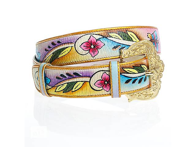 купить бу Женский кожаный ремень из натуральной кожи с росписью в Киеве