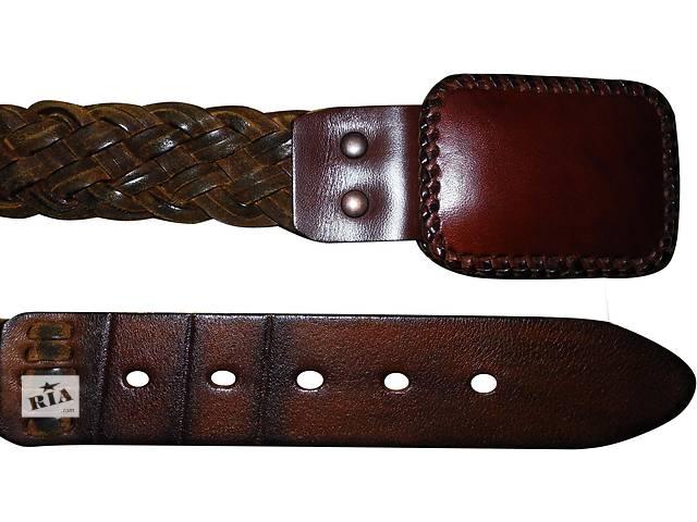 продам Женский ремень кожаный коричневый с кожаной бляхой бу в Полтаве