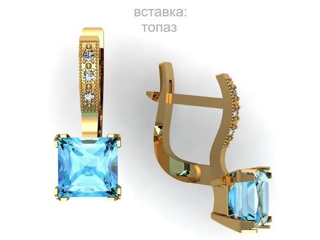 купить бу Золотые серьги 585 пробы с Топазом!!! в Львове
