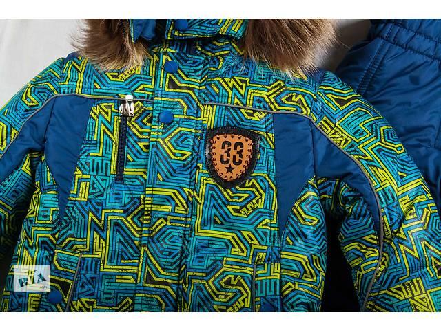 """бу Зимний комплект """"зигзаг-зелёный"""" - курточка и полукомбинезон размеры 92,98,104,110 в Харькове"""
