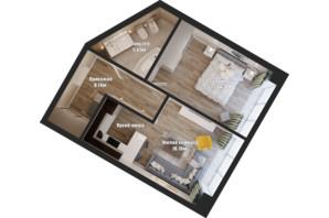АКТ Bartolomeo Resort Town: планировка 1-комнатной квартиры 50.44 м²