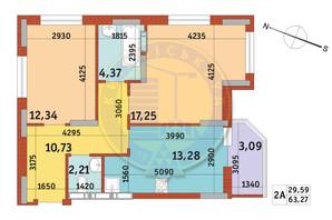 Апарт-комплекс Електриків: планування 2-кімнатної квартири 63.27 м²