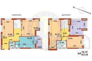 Апарт-комплекс Електриків: планування 4-кімнатної квартири 107.38 м²
