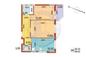 Апарт-комплекс Електриків: планування 2-кімнатної квартири 59.53 м²
