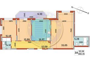Апарт-комплекс Електриків: планування 3-кімнатної квартири 102.15 м²