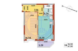 Апарт-комплекс Електриків: планування 1-кімнатної квартири 47.58 м²