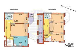 Апарт-комплекс Електриків: планування 5-кімнатної квартири 122.24 м²