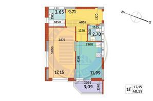 Апарт-комплекс Електриків: планування 1-кімнатної квартири 48.29 м²