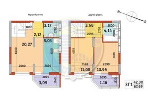 Апарт-комплекс Електриків: планування 3-кімнатної квартири 67.69 м²