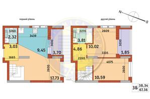 Апарт-комплекс Электриков: планировка 3-комнатной квартиры 67.36 м²