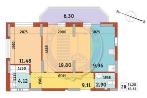 Апарт-комплекс Электриков: планировка 2-комнатной квартиры 63.67 м²