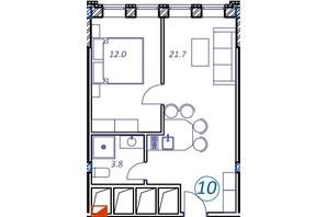 Апарт-комплекс Европа Плюс: планировка 1-комнатной квартиры 37.5 м²