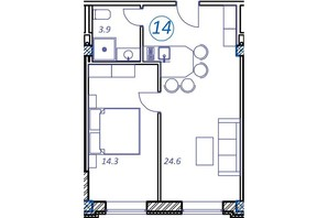 Апарт-комплекс Европа Плюс: планировка 1-комнатной квартиры 42.8 м²