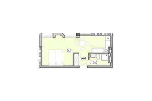 Апарт-комплекс Кампус: вільне планування квартири 30.4 м²