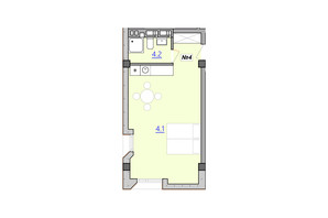 Апарт-комплекс Кампус: планування 1-кімнатної квартири 34.6 м²