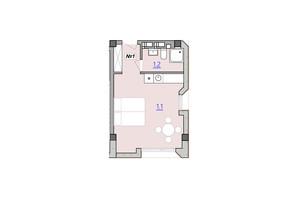 Апарт-комплекс «Кампус»: свободная планировка квартиры 28.1 м²