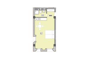 Апарт-комплекс «Кампус»: свободная планировка квартиры 34.3 м²