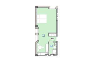 Апарт-комплекс «Кампус»: свободная планировка квартиры 36.1 м²