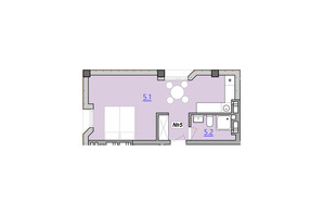 Апарт-комплекс «Кампус»: планировка 1-комнатной квартиры 31 м²