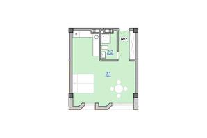 Апарт-комплекс «Кампус»: планировка 1-комнатной квартиры 37.6 м²