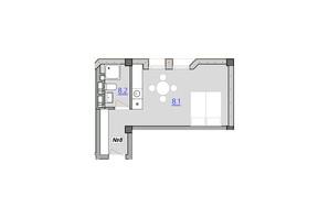 Апарт-комплекс «Кампус»: планировка 1-комнатной квартиры 27.4 м²