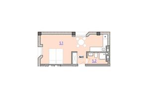 Апарт-комплекс «Кампус»: планировка 1-комнатной квартиры 31.1 м²
