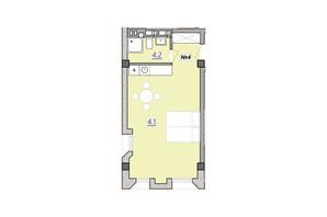 Апарт-комплекс «Кампус»: планировка 1-комнатной квартиры 34.3 м²