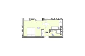 Апарт-комплекс «Кампус»: планировка 1-комнатной квартиры 30.4 м²