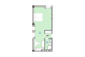 Апарт-комплекс «Кампус»: планировка 1-комнатной квартиры 36.1 м²