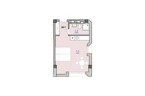 Апарт-комплекс «Кампус»: планировка 1-комнатной квартиры 28.1 м²