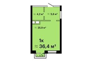 Апарт-комплекс Морская резиденция: планировка 1-комнатной квартиры 36.4 м²