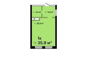 Апарт-комплекс Морская резиденция: планировка 1-комнатной квартиры 35.9 м²