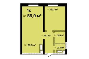Апарт-комплекс Морская резиденция: планировка 1-комнатной квартиры 55.9 м²