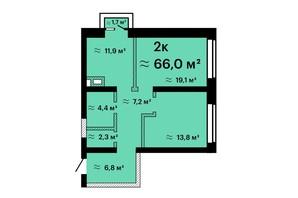 Апарт-комплекс Морская резиденция: планировка 2-комнатной квартиры 66 м²