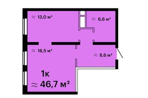 Апарт-комплекс Морская резиденция: планировка 1-комнатной квартиры 46.7 м²