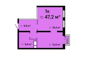 Апарт-комплекс Морская резиденция: планировка 1-комнатной квартиры 47.2 м²