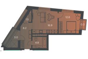 Апарт-комплекс Pokrovsky Apart Complex: планування 1-кімнатної квартири 48 м²