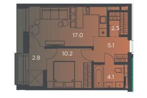 Апарт-комплекс Pokrovsky Apart Complex: планування 1-кімнатної квартири 40 м²