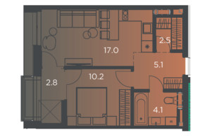 Апарт-комплекс Pokrovsky Apart Complex: планировка 1-комнатной квартиры 40 м²