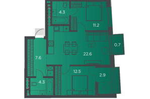 Апарт-комплекс Pokrovsky Apart Complex: планировка 2-комнатной квартиры 65 м²