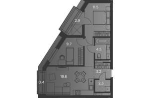 Апарт-комплекс Pokrovsky Apart Complex: планировка 2-комнатной квартиры 56 м²