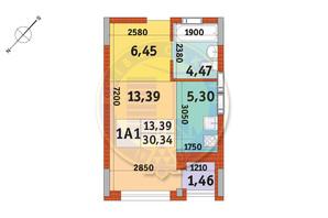 Апарт-комплекс в Пуще Водице: планировка 1-комнатной квартиры 30.34 м²