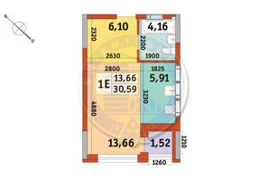 Апарт-комплекс в Пуще Водице: планировка 1-комнатной квартиры 30.59 м²