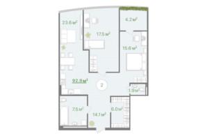 БФК Intergal City: планировка 2-комнатной квартиры 92.8 м²