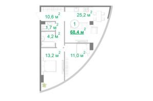 БФК Intergal City: планировка 2-комнатной квартиры 68.4 м²